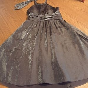 Adrianna Papell boutique sz 10 grey metallic dress